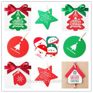 50pc/lot Handmade DIY Kraft Christmas Decoration Hang Tag Christmas Party Ornament Paper Cards Gift Box Tag Kraft Label Sticker