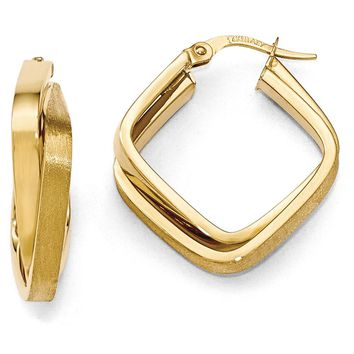 6mm x 23mm (7/8 Inch) 14k Yellow Gold Crossover Square Hoop Earrings