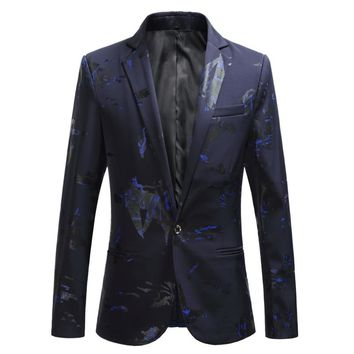 2018 fashion new men's casual boutique suit / Male print suit blazers jacket dress coat / large size M-6XL