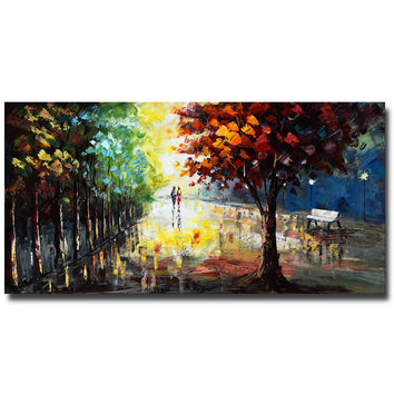 Stroll in Colorful Park Landscape Canvas Wall Art Oil Painting