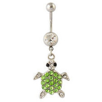 Turtle Rhinestone Belly Button Ring