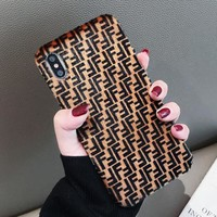 FENDI Autumn Winter Fashionable Mobile Phone Cover Case For iphone 6 6s 6plus 6s-plus 7 7plus 8 8plus X XsMax XR Brown