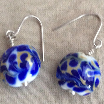 Lampwork Bead Earrings Cobalt and Gold