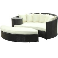 LexMod Taiji Outdoor Wicker Patio Daybed with Ottoman in Espresso with White Cushions:Amazon:Patio, Lawn & Garden