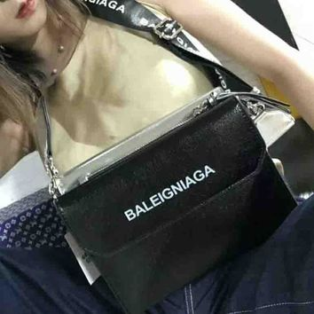 Baleigniaga Fashion New fashion print women shoulder bag Black silver