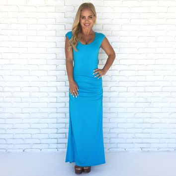 Kylen Maxi Dress in Turquoise By SKY