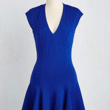 Mid-length Short Sleeves A-line A Dash of Flair Dress in Sapphire