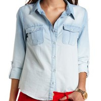Ombre Chambray Button-Up Top by Charlotte Russe - Lt Blue Combo