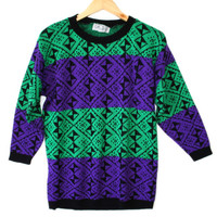 Vintage 80s Purple and Teal Ugly Cosby Sweater for Girls