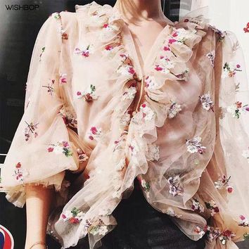 DCCKON3 luxury woman fashionsilk sequined embroidered tulle shirt v neck ruffles detail button up long sleeves frills cuffs