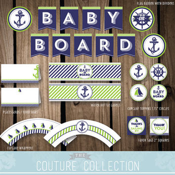 DECOR Package Baby on Board Nautical Preppy Boy Baby Shower Decoration Bright Green and Navy Printable DIY Digital File Instant Download