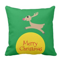 Flying Reindeer Throw Pillow