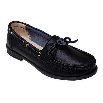 Women's Black Leather Moccasins with Bow - CASE OF 12