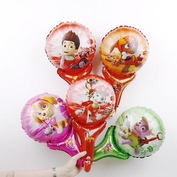 50pcs/lot Cartoon DOG Holding Stick Foil Balloon Party Supplies Birthday Kids Inflatable Toys Dog Paw Patroling Helium Balloons