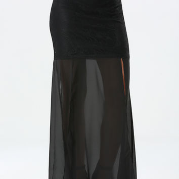 bebe Womens 4-Panel Maxi Skirt Black