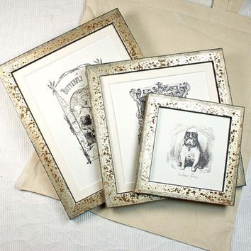 8x10 inch Antiqued Rusty Silver Photo Frame Wedding /portrait/Bride and Groom/Graduate Photo Frame Good for Sepia and Black and White Photos