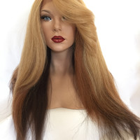 Tri Color Ombre Dark Blond Thick Hair Lace Front Wig 22 inches