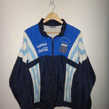Vintage ADIDAS Argentina Coca Cola Windreaker Jacket Selection Juvenil Trainer Zip Up