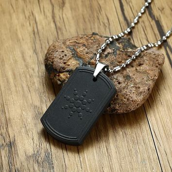 Men's Dog Tag Quantum Pendant Necklace Science Scalar Energy is made from special Japanese Volcanic Lava Male Jewelry 25.5 inch