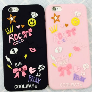 Creative scrawl bowknot star printed plastic Case Cover for Apple iPhone 7 7Plus 6 Plus 6 -05012