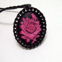 gothic, necklace, cameo, rose, black, pink, chainmaille, pendant, chainmaille necklace