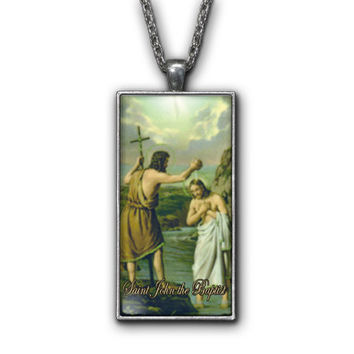 Saint John the Baptist Painting Religious Pendant Necklace Jewelry