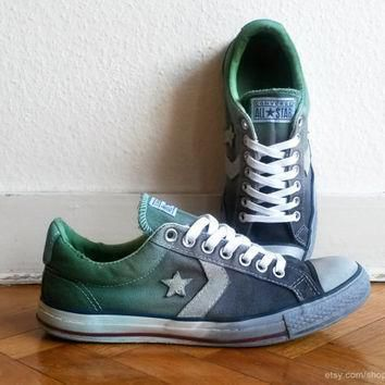 charcoal green ombre converse star player low tops upcycled vintage sneakers dip d