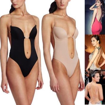 underwear women SEXY CLEAR STRAP BACKLESS DEEP Plunge THONG Backless push up pad BODY SHAPER suit S-XL,Women's Plunge Body Suit