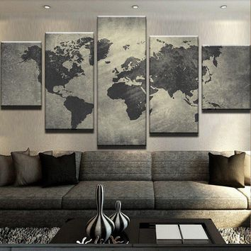 Canvas Wall Art Modular Picture Landscape Canvas Painting Modern Living Room Decorative Frames 5 Panel World Map PENGDA