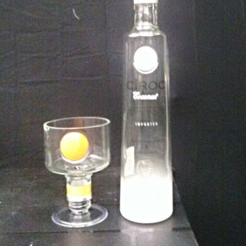NEW! Jumbo Ciroc Vodka Bottle Top Martini Glass & Ciroc Candle Set