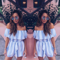 Stripe strapless one word shoulder jumpsuits with shorts