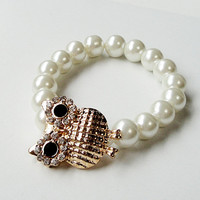 "White Pearl Gold Rhinestone Owl  Connector Stretchy Elastic  Bracelet, Fits up to 8.5"" CIJ ChristamsinJuly"
