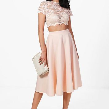 Natasha Lace Crop & Full Midi Skirt Co-Ord Set | Boohoo