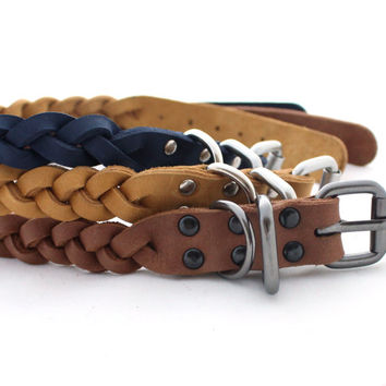 Leather dog collar Genuine Leather braided collar middle dog Braided collar hand dyed collars Cable collars Leather collars Different Sizes