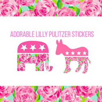 ROSE PATTERN Lilly Pulitzer Peony Print Stickers *Republican Elephant and Democratic Donkey Party Stickers