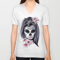 Sugar Skull Girl Unisex V-Neck by Smyrna
