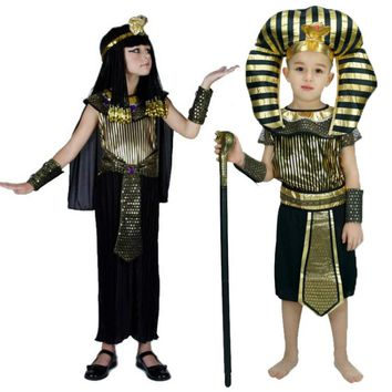 2017 fashion Egyptian Pharaoh Children Costumes Cosplay masquerade Halloween childen kid Carnival costume Cleopatra royal