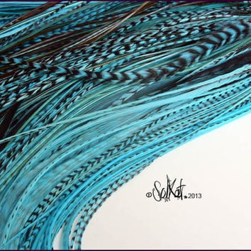 Wholesale Feather Extensions Hair Accessories Turquoise Mix Popular Best Selling Color Mix Feather Extensions 10 Feathers