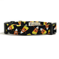 Dog Collar - Halloween Collar - Halloween Candy Corn - Candy Corn Dog - Black Dog Collar - Cute Dog Collar - Fall Dog Collar