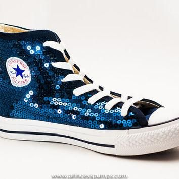 Navy Blue Sequin Converse Canvas Hi Top Sneaker