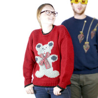 Vintage 80s Chunky Knit Big Teddy Bear Ugly Christmas Sweater - The Ugly Sweater Shop