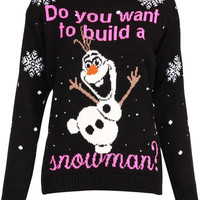 Knitted Olaf Frozen XMAS  jumper Sweater Do You Want To Build A Snowman for Women Men Christmas