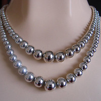 Vintage Mid Century Silver Plated Metal Bead Necklace * 2-Strand * Graduated Beads * Jewelry * Jewellery