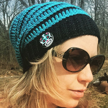 Black and Teal Slouch Hat with sugar skull button