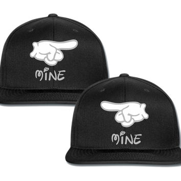 mine mine mickey hands couple matching snapback cap