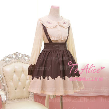 Creamy Chocolate Theme Funny Patchwork Cream Yellow & Brown Suspender Jumper Skirt Fork & Spoon Embroidery Cute Lolita Skirt