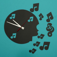 3D Cre-ative Musical Note Quartz wall sticker Clock Home Mirror Music Decorative Living Room Bedroom Stickers DIY