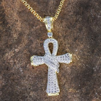 Cross Steel Box Chain 14K Gold Finish Combo
