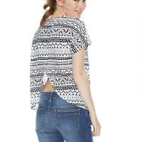 Print Cori Envelope-Back Short-Sleeve Top -