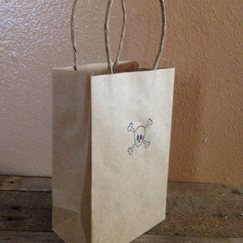 Skull and cross bones hand stamped gift bags